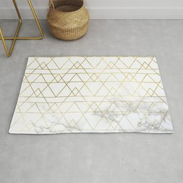 Gold Geometric Marble Deco Design Rug