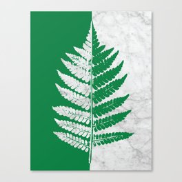 Natural Outlines - Fern Green & White Marble #689 Canvas Print