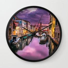 Venice Italy Canal at Night Wall Clock
