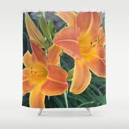 Garden Blooms - Orange Shower Curtain