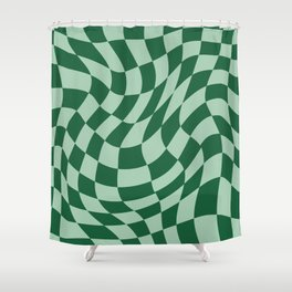 Play Checkers Sage Shower Curtain