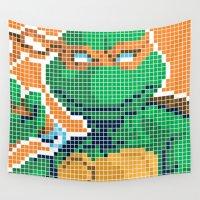 ninja turtles Wall Tapestries featuring Teenage Mutant Ninja Turtles - Michelangelo by James Brunner