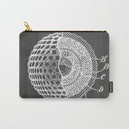 Golf Ball Patent - Golfer Art - Black Chalkboard Carry-All Pouch