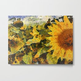 VG style fields of sunflowers Metal Print