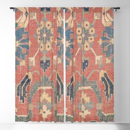 Geometric Leaves V // 18th Century Distressed Red Blue Green Colorful Ornate Accent Rug Pattern Blackout Curtain