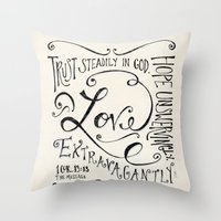 scripture Throw Pillows featuring Love Extravagantly scripture print by Kristen Ramsey