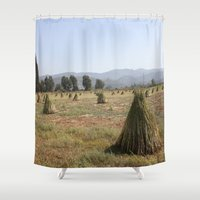 sesame street Shower Curtains featuring Sesame Crop and Harvest by taiche