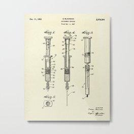 Hypodermic Syringe-1947 Metal Print