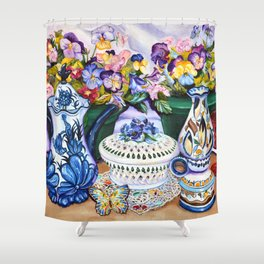 Pansies and Teapot oil Still Life Shower Curtain