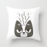 grumpy Throw Pillows featuring Grumpy by Jaguar Force
