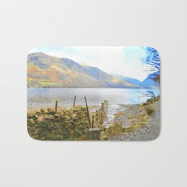 The Shores of Buttermere, Lake District, UK Watercolour Painting Bath Mat