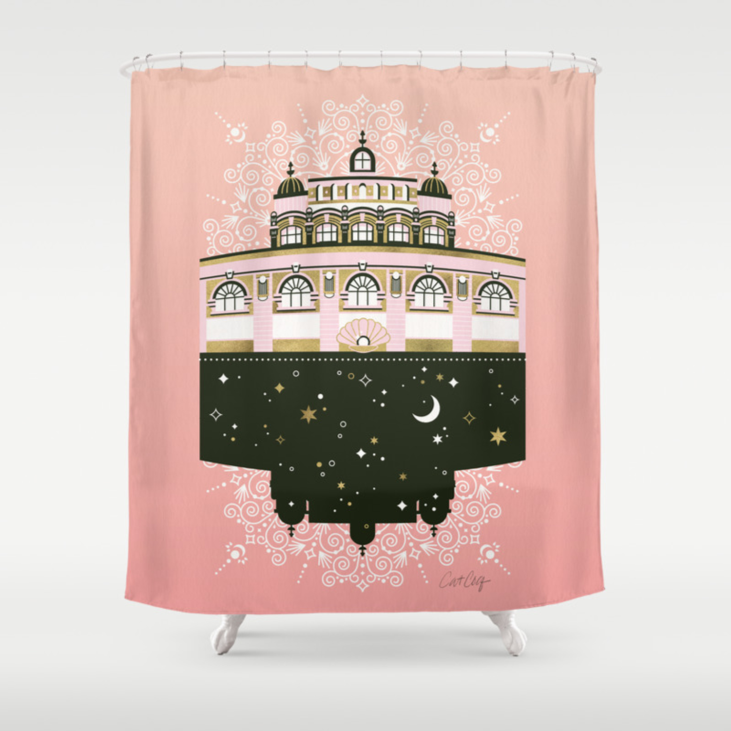 Budapest Bath House Peach Gold Palette Shower Curtain By Catcoq Society6