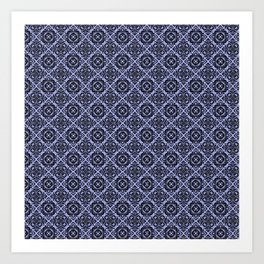 Orchid and Black Damask Pattern Art Print