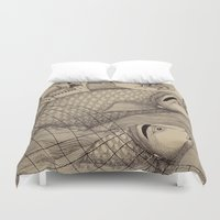 jazzberry Duvet Covers featuring The Golden Fish (1) by Judith Clay