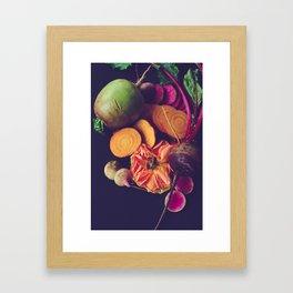 Moody Modern Botanical Floral and Vegetables Framed Art Print
