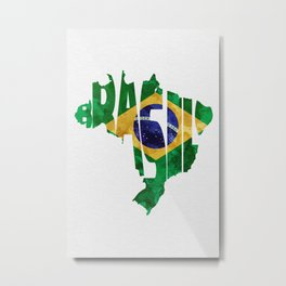 Brasil Typographic World Map / Brasil Typography Flag Map Art Metal Print