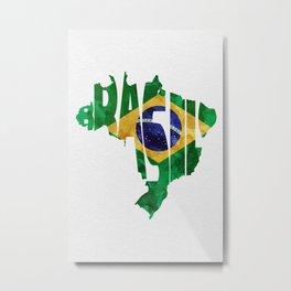 Brasil Typographic World Map / Brasil Typography Flag Map Art Metal Print