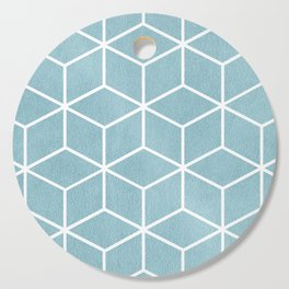 Light Blue and White - Geometric Textured Cube Design Cutting Board