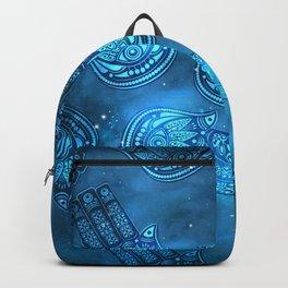 Hamsa Hand Magic Eye Blue Watercolor Art Backpack