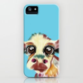 Colorful Cow With Big Eyes On Bluebackground iPhone Case