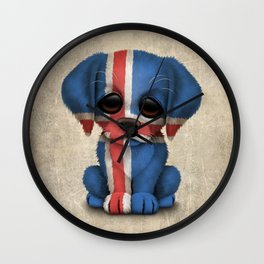 Cute Puppy Dog with flag of Iceland Wall Clock