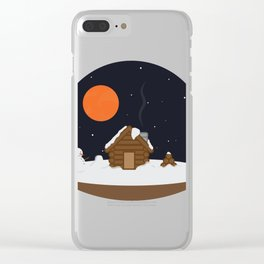 Cabin In The Snow Clear iPhone Case