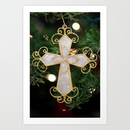 Christmas Cross Art Print
