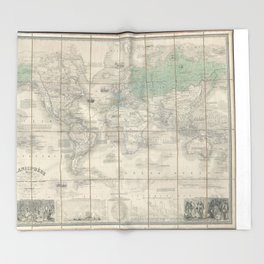 Vintage Map of The World (1857) 2 Throw Blanket
