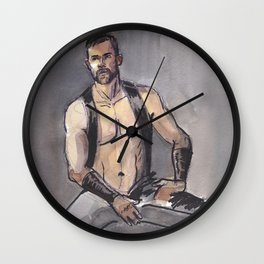 JAMES, Leather Daddy by Frank-Joseph Wall Clock