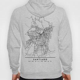 SANTIAGO DE CHILE BLACK CITY STREET MAP ART Hoody