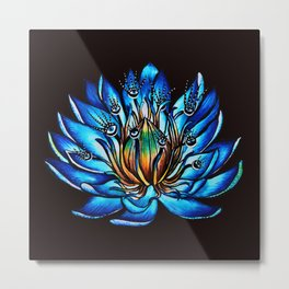 Multi Eyed Blue Water Lily Flower Metal Print