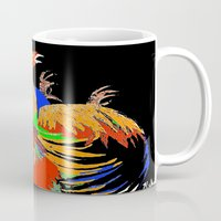 cock Mugs featuring Cock Fight by Saundra Myles