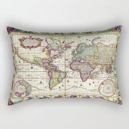 Ancient Pictorial Map Claes Janszoon 1652 Rectangular Pillow