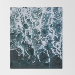 Minimalistic Veins in a Wave  - Seascape Photography Throw Blanket
