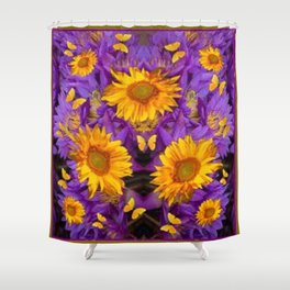 YELLOW BUTTERFLY SWARM LILAC-KHAKI COLOR Shower Curtain