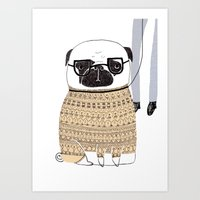 pug Art Prints featuring Pug  by Phillippa Lola
