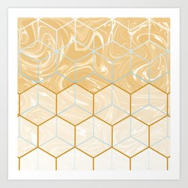 Geometric Effect Caramel Marble Design Art Print
