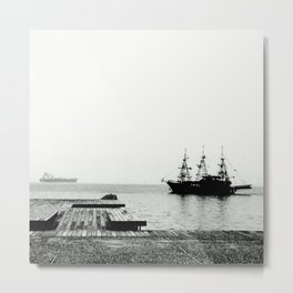 ships on a calm sea black and white Metal Print