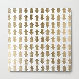 Chic modern faux gold white bohemian arrows pattern Metal Print