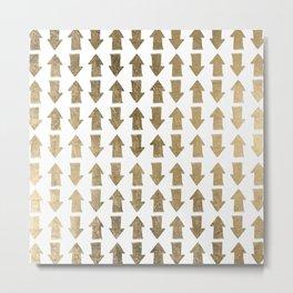 Chic modern faux gold white bohemian arrows pattern Metal Print
