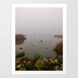 stone, water & fog Art Print
