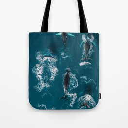 Humpback whales in the arctic ocean - Wildlife Aerial Tote Bag