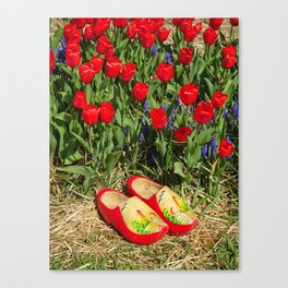 Wooden Shoes and Tulips Canvas Print