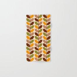 Retro 70s geometric leaves branches brown orange Hand & Bath Towel