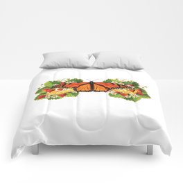 Monarch Butterfly with Strawberries Illustration Comforters