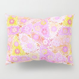 Pastel Patchwork Flower Garden, Soft Lavender, Lilac Purple and Pink Floral Quilt Repeat Pattern Pillow Sham