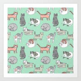 Cat pattern cute nursery cat lady kittens by andrea lauren Art Print