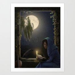 Reading in the moonlight Art Print