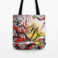 kill bill Tote Bags featuring Kill Bill by Joe Badon
