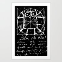 da vinci Art Prints featuring Kot da Vinci (black) by Katja Main